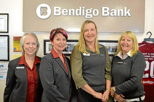 The local Bendigo Bank team. Kim Stevenson is second from the right.